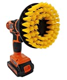 The Beast Brush (Stiff Yellow) - Power Scrubbing Brush Drill Attachment for Cleaning Showers, Tubs, Bathrooms, Tile, Grout, Carpet, Tires, Boats