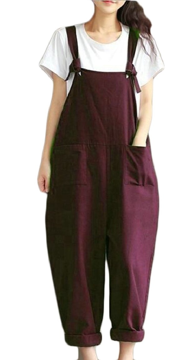 RG-CA Women Plus Size Wide Leg Jumpsuit Rompers Overalls Harem Pants