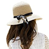 Mainstream Holiday Women Korean Version Of The Tide Spring and Summer Small Fresh Beach Hat Sun Folding Large Sun Hat Sun Hat,Onesize(56-58cm),BandingBowStrawHat-Beige