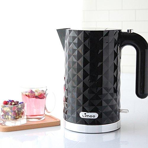 Vapor Kettle - Limee KE0203 1.7 liter cordless electric kettle rapid boiling glossy plastic black