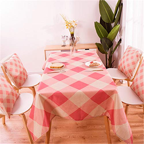 - zfdvho Plant Pattern Cotton Linen Waterproof Tablecloth Decoration Home Decoration Tablecloth Tablecloth Pink Diamond 140x180cm