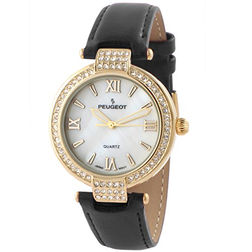 Peugeot Women's 14K Gold Plated T-Bar Crystal Black Leather Dress Watch