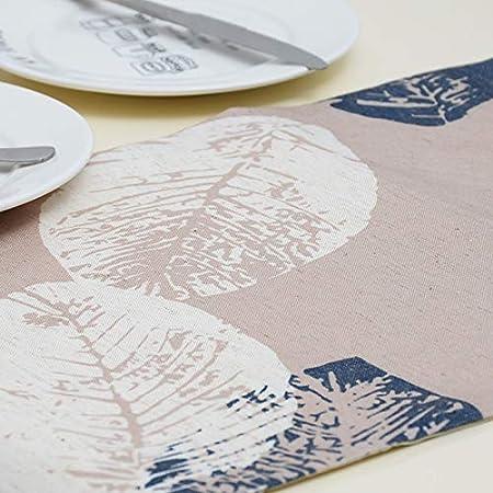 Westeng Corredor Mesa Camino de Mesa de Algodón y Lino Exquisito de Hogar Diseño de la Hoja Camino de Mesa para Decoración Size 180cm*32cm (Azul Claro)