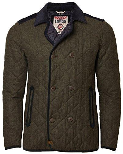Tokyo Laundry Men's Jacket Quilted Wool Mix Double Breasted Designer Coat Medium Khaki Marl