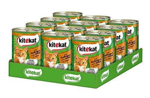 Kitekat Katzenfutter Nassfutter in verschiedenen Geschmacksrichtungen, 12 Dosen (12 x 400g)