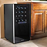 wine enthusiast silent 32 bottle touchscreen wine refrigerator 2 temp