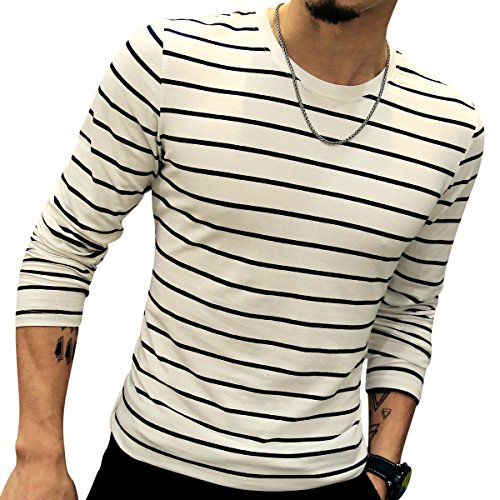 LOGEEYAR Mens Long-Sleeve Cotton Fitted Contrast Color Stitching Stripe Slim T-Shirt (White,M) by LOGEEYAR