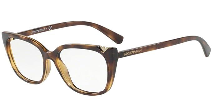 Emporio Armani 0EA3109, Monturas de Gafas para Mujer, Dark Havana, 52: Amazon.es: Ropa y accesorios