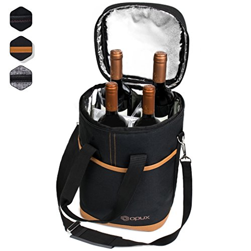 Premium Insulated 4 Bottle Wine Carrier Tote Bag | Wine Travel Bag with Shoulder Strap and Padded Protection | Wine Cooler Bag (Brown) (Carriers 4)