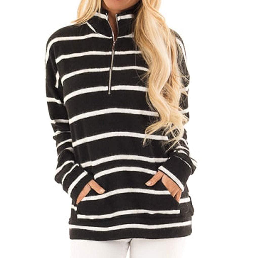 ZEZKT Pullover Frauen gestreiftes langärmliges Sweatshirt Pocket Tops Shirt Casual Tunika Sommer T-Shirts Damenmode Damenblusen
