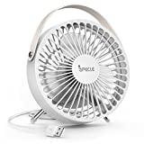 USB Fan, iSPECLE Portable Desk Fan Small Office Fan Easy to Clean, Angle Adjustable Table Fan, Personal Fans with Leather Handle and Steel Foldable Supporter for Office Home Desk Study Bedroom, White