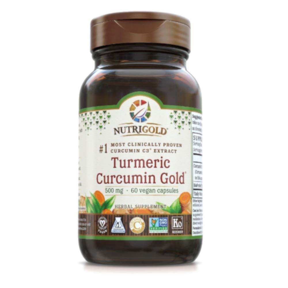 Nutrigold Turmeric Curcumin Gold 500 milligrams (60 Vegan Capsules)