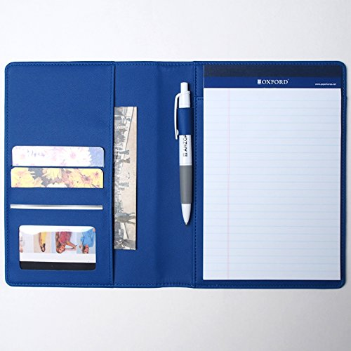 - AHZOA Colorful 4 Pockets A5 Size Memo Padfolio S1, Including 5 X 8 Inch Legal Writing Pad, Synthetic Leather Handmade About 6.3 X 8.7 Inch Folder Clipboard Holder (Blue)