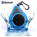 DOLIROX® Waterproof Wireless Hands Free Portable Bluetooth Speakers & Receiver with Built-in Mic and Call Answering Shower Speaker for Smartphone with Sucker and Hanger (Blue)