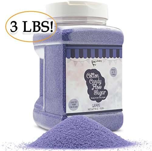The Candery Cotton Candy Floss Sugar Grape Flavor - Reusable Plastic Jars - Easy Pour and Scoop Spout - 48oz 3LB