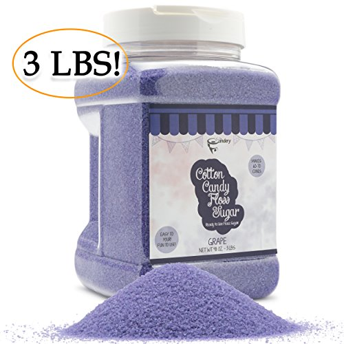 The Candery Cotton Candy Floss Sugar Strawberry Flavor- Reusable Plastic Jars - Easy Pour and Scoop Spout - 48oz 3LB ()