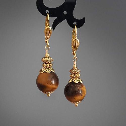 Beautiful Brown Earrings Great Quality Gemstone Jewelry! AAA Natural Tiger Eye Gemstone Earrings 13x55mm Long Teardrop Shape Earrings