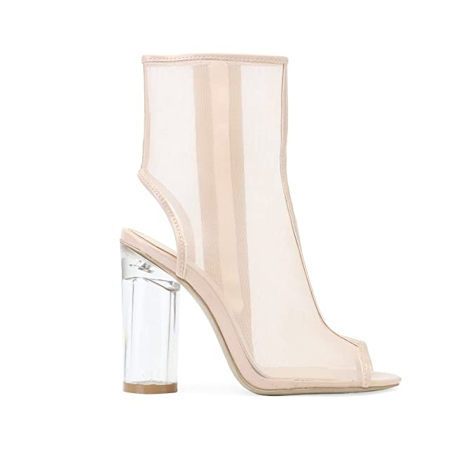 d9b55f07fc6 Womens Zip Up Peeptoe Heel Perspex Clear Heeled Ankle Boots Nude ...