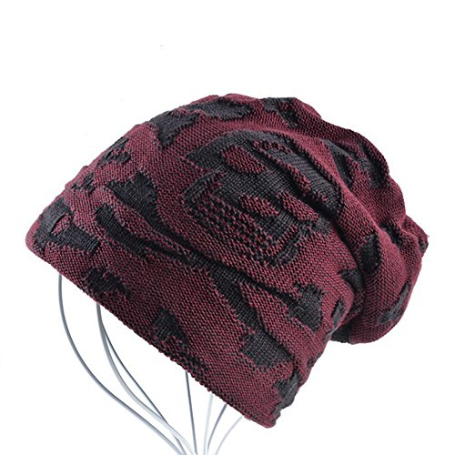 AKIZON Men's Beanie Hat Skull | Fall and Winter Warm Knit Caps | One Size (Red) (Knit Diamante)