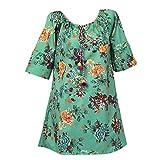 PASATO S-5XL Plus Size Women's O-neck Casual Floral Print Half Tank Sleeveless Short Dress(Green,XXXXL=US:XXXL)