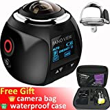 GBD Wireless 360 Degree Panoramic Camera 3D VR Live Video Full View Action Sports Camera with WiFi Waterproof 16MP 4K HD 0.96inch Screen 30fps 230° Large Lens Mini DV Player (Black)