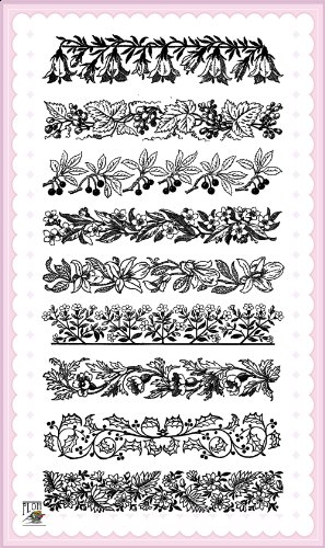 - Art Deco Flowers Laces Borders (large) // Clear stamps pack (4