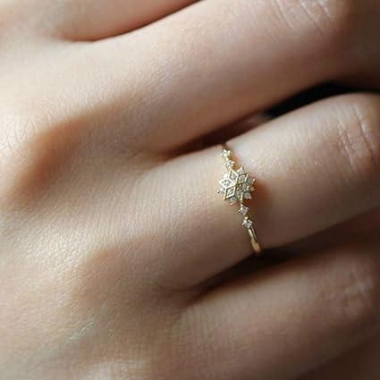 bfdbfa66aeeed8 Amazon.com: Dolland Womens Gold Tone Snowflakes Eternity Ring Engagement  Wedding Band Thin Finger Ring, #7