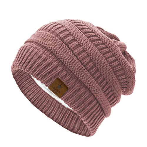 Durio Womens Knit Beanie Winter Thick Solid Fleece Lined Beanie Hats for Women Warm Slouchy Beanies Skiing Snowboarding Pink One Size