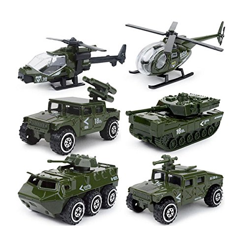 Military Die - JQGT Diecast Military Vehicles Army Toy 6 in 1 Assorted Metal Model Cars Tank Jeep Attack Helicopter Panzer Playset for Kids Toddlers