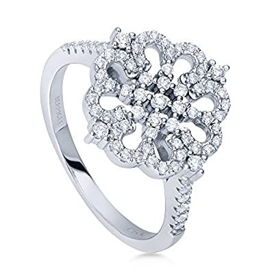 BERRICLE Rhodium Plated Sterling Silver Cubic Zirconia CZ Flower Fashion Right Hand Ring hot sale