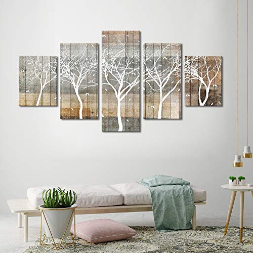 (ARTLAND Autumn Painting On Canvas White Tree Silhouette On Wooden Background Wall Art 5 Piece Large Size Landscape Falling Leaves Fall Artwork Framed Ready to Hang for Home Decoration 32x60inches )