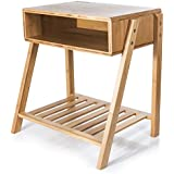 SMAGREHO Bamboo Nightstand with Open Storage and Shelf, Multi-purpose as Side Table, End Table