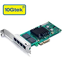 10Gtek Intel 82580 Chip 1G Gigabit Ethernet Converged Network Adapter (NIC), Quad Copper RJ45 Ports, PCI Express 2.0 X4, Same as I340-T4/ E1G44HT