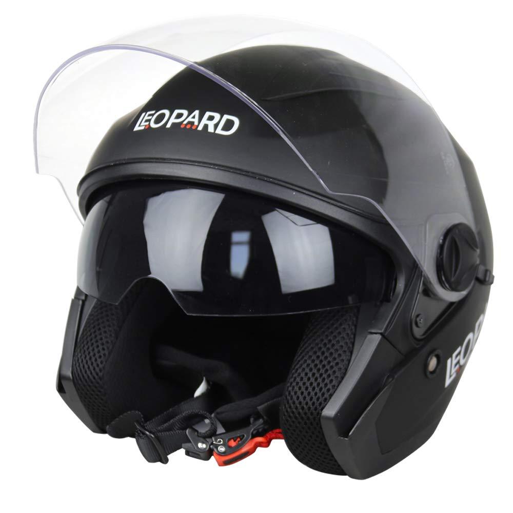 Leopard LEO-608 Double Sun Visor Open Face Motorbike Motorcycle Helmet Road Legal Graphic Purple XL 61-62cm