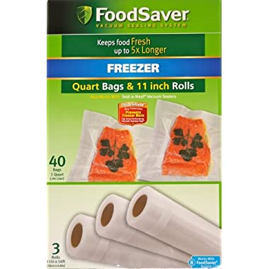FoodSaver Combo 3 Pack -11 x16' rolls and 40 quart bags