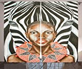 Ambesonne Country Decor Collection, African Woman with Zebra Spirit Animal Mother Nature Themed Artistic Image, Living Room Bedroom Curtain 2 Panels Set, 108 X 84 Inches, Black White Brown