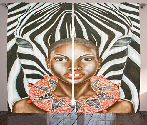 Ambesonne Country Decor Collection, African Woman with Zebra Spirit Animal Mother Nature Themed Artistic Image, Living Room Bedroom Curtain 2 Panels Set, 108 X 84 Inches, Black White Brown by Ambesonne