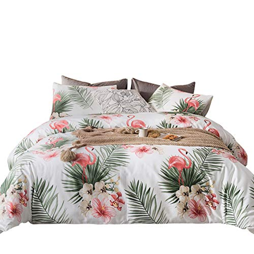 YuHeGuoJi 3 Pieces Colorful Floral Duvet Cover Set 100% Egyptian Cotton King Size Coral Flamingo Print Bedding with Zipper Ties 1 Green Leaf Print Duvet Cover 2 Pillowcases Hotel Quality Soft Durable (Coral Flamingo)