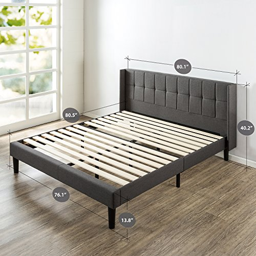 Zinus Dori Upholstered Square Stitched Wingback Platform Bed / Mattress Foundation / Easy Assembly / Strong Wood Slat Support, King