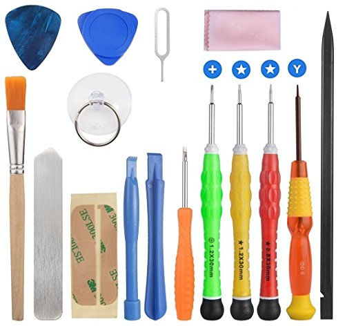 ELINKA 16 Pieces Cell Phone Repair Tool Kits Screwdriver Opening Pry Tools for iPhone 7/7 Plus/6Plus/6S/6/5S/5/5C/4S/4/SE, iPad Air/Air2/mini, iPod ()