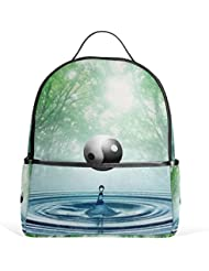 JSTEL Yin Yang Tree Water Droplets School Backpacks for Boys Girls Bookbag