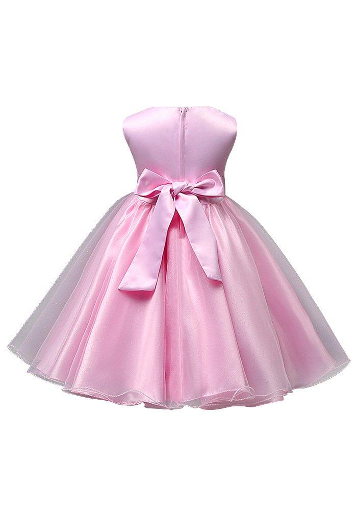 yakadi vestido Niñas Princesa Flor Perla borde Rosado vestido lazo ...