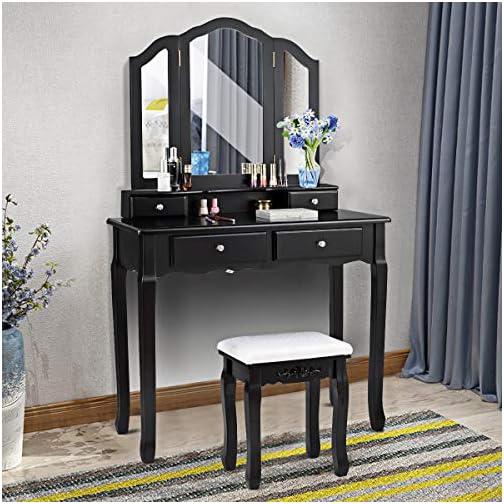 Giantex Tri Folding Mirror Vanity Makeup Table Stool Set Home Furni with 4 Drawers