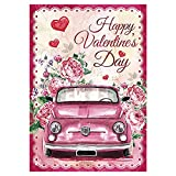 "Morigins Pink Truck with Rose Decorative Happy Valentine Day Garden Flag Double Sided 12.5"" x 18"""