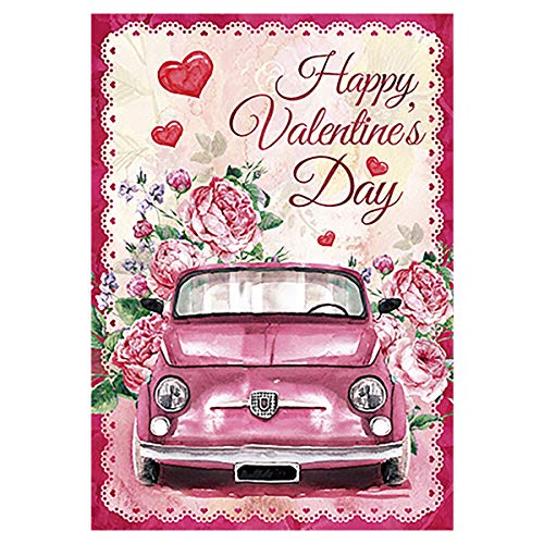 Morigins Pink Truck with Rose Decorative Happy Valentine Day Garden Flag Double Sided 12.5 x 18