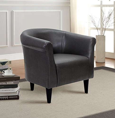 Accent Barrel Chair, Contemporary Upholstered Armchair, Faux Leather Club Chair, Reception Seat (Dark Gray) (Reception Faux Leather)
