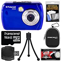 Polaroid iS048 Waterproof Digital Camera (Blue) with 16GB Card + Case + Tripod + Kit