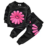 Toddler Baby Girls Sunflower Clothes Set Long Sleeve Top and Pants 2pcs Outfits Fall Clothes (Black,Age 3T)