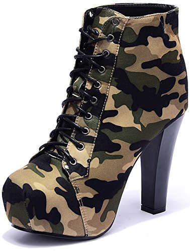 Odema Womens Military Ankle Boots Camouflage Sexy High Heel Pumps Lace Up Platform Shoes