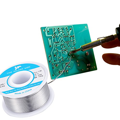60-40 Tin Lead Rosin Core Solder Wire Reel Roll for Electrical Desoldering Wick 100g/0.22LB/4OZ 0.6mm/0.02 Inch Flux 1.8%